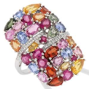 75ct Colors of Sapphire, Ruby and Diamond 10K White Gold Ring at