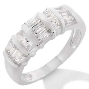 4ct White Zircon Sterling Silver Baguette Ring