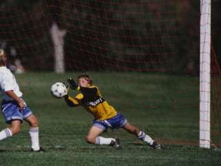11 Year Old Boys Soccer Goalie in Action Photographic Print at