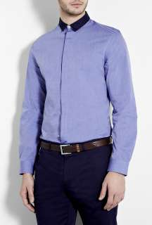 PS Paul Smith  Blue End On End Spot Collar Slim Shirt by PS Paul