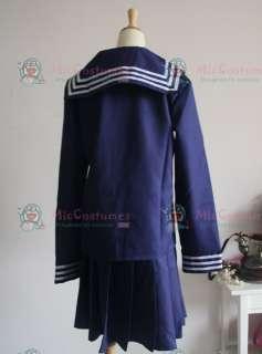 Deep Blue Long Sleeves Sailor School Uniform Cosplay Costume  Deep