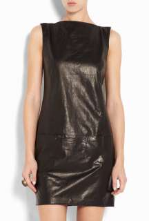 Vince  Leather Boat Neck Dress by Vince