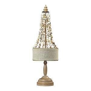 25 Bleached Wood and Natural Shell Table Lamp at HSN