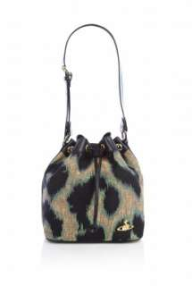 Vivienne Westwood Accessories  Emerald Leopard Bucket Bag by Vivienne