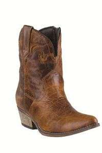 Dingo Womens Rose Brown Crackle Western Cowboy Boot