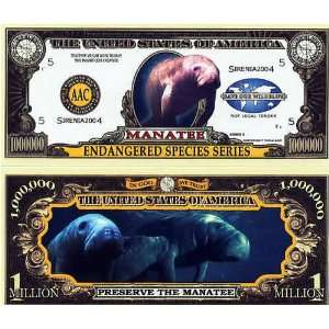 Set of 10 Bills Endangered Manatee Million Dollar Bill Toys & Games