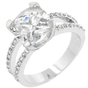White Gold Rhodium Bonded Cocktail Ring with a 5ct Prong Set Asscher