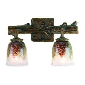 Rustic Painted Glass Pine Cone Wall Sconce (2 light)