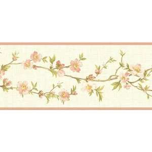 White Pink Cherry Blossom Orchard Wallpaper Border