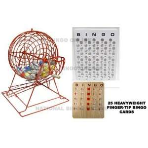 Red Professional Ping Pong Bingo Cage Set with Cards Toys & Games