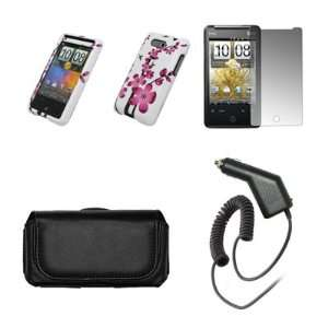HTC Aria Premium Black Leather Carrying Case + White with