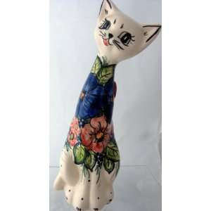 Cat Statue Figurine Bold Flowers Blue Coral Green