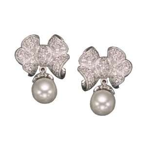 com C.Z. AND PEARL BOW RHODIUM PLATED (.925) STERLING SILVER EARRINGS
