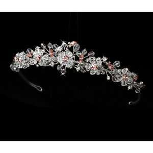 Silver Pink Crystals Bridal Tiara Headband Jewelry