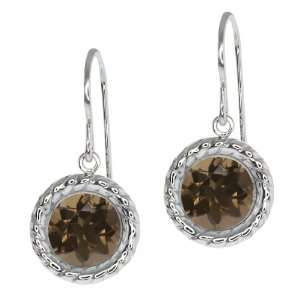 Brown Smoky Quartz Sterling Silver bezel Stud Earrings 6mm Jewelry