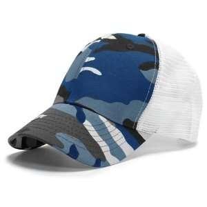 Camouflage & White 6 Panel Mesh Trucker Adjustable Baseball Cap Hat