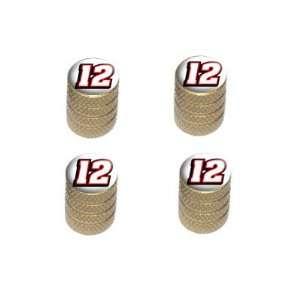 12 Number Twelve   Tire Rim Wheel Valve Stem Caps   Gold Automotive