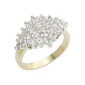 Womens Cluster Clear Swarovski CrystalTwo Tone Ring, Size