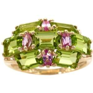 Cluster Ring Multi Peridot Pink Sapphire, size7.5 diViene Jewelry