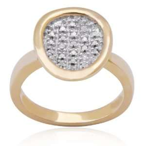 Gold Plated Sterling Silver Cubic Zirconia Ring, Size 7 Jewelry