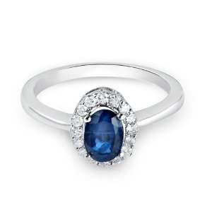 com 14k White Gold Promise Ring with Oval Cut Sapphire and Round Cut
