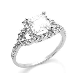 3ctw CZ Cubic Zirconia Princess Cut Solitair White Gold Ring Jewelry