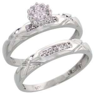 10k White Gold Diamond Engagement Ring Set 2 Piece 0.09 cttw Brilliant