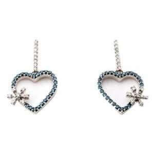 14K White gold 1 ctw heart shape Blue Diamond Drop Earrings Jewelry