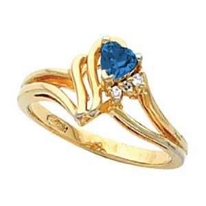 14K Yellow Gold Heart Shaped Sapphire and Diamond Ring Jewelry