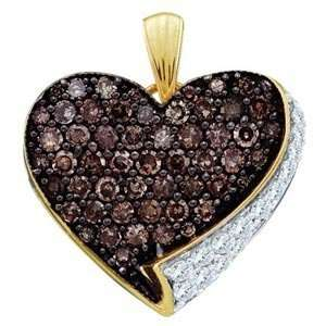 Chocolate & White Diamond 14k Yellow Gold Flower Cluster Stud Earrings