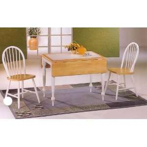 Natural & White Drop Leaf Tile Top Table & 4 Chairs: Home