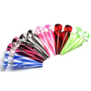 of Striped Fake Ear Cheater Tapers Plugs Expanders Gauges 16g, 0g look
