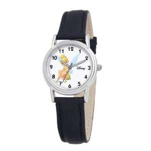 Disney Womens D088S005 Tinker Bell Black Leather Strap Watch Watches