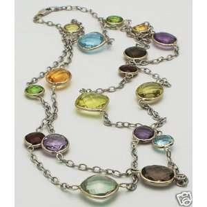 14K White Gold Fancy Cut Gemstones Necklace 36 New