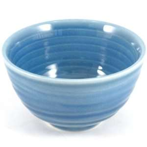 Blue Porcelain Crackled Glass Soup /Rice Bowls 6pc Set