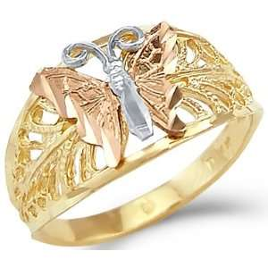 14k Yellow White Rose 3 Three Color Gold Butterfly Ring Jewelry