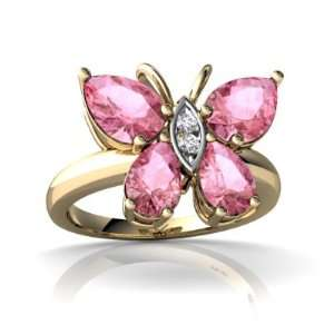 Yellow Gold Pear Created Pink Sapphire Butterfly Ring Size 6 Jewelry