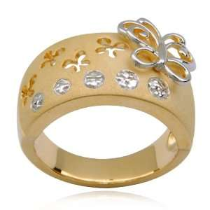 Gold Plated Sterling Silver and Diamond Accent Butterfly Band Ring