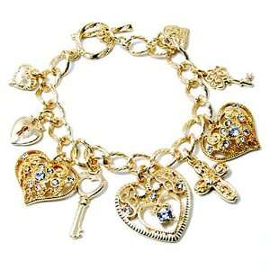 Crystal and Gold Hearts and Key Charm Toggle Bracelet Jewelry
