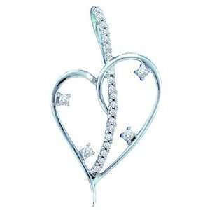 1/5 Carat Diamond 14k White Gold Heart Diamond Pendant w
