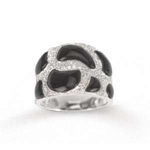 Bold 14k White Gold Diamond and Black Onyx Ring Jewelry