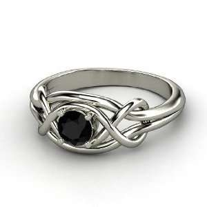 Infinity Knot Ring, Round Black Onyx 14K White Gold Ring Jewelry