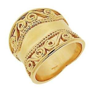 18K Gold Plated Spiral Antique Band Ring   Size 7 Jewelry