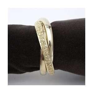 LObjet 3 Gold Plated Napkin Rings, 1 w/Swarovski Crystals