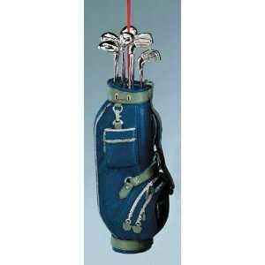 5 Blue Golf Bag & Clubs Christmas Ornament