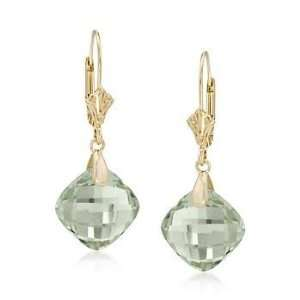 9.75 ct. t.w. Green Amethyst Earrings In 14kt Yellow Gold