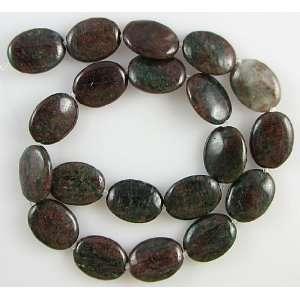 20mm red green garnet flat oval beads 16 strand