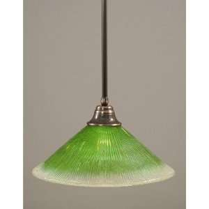Pendant with 16 Kiwi Green Crystal Glass Shade Finish Black Copper