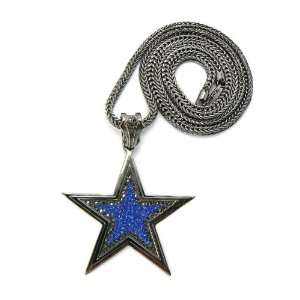 Out 3D PAVE STAR Pendant w/36 Franco Chain HEMATITE/BLUE Jewelry