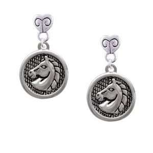 Horse Head in Disc   Silver Plated Mini Heart Charm Earrings [Jewelry]